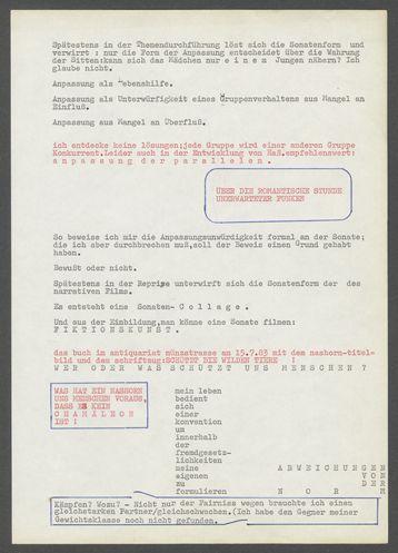 """Filmkonzept Gino Hahnemann """"Trauriges Nashorn"""", Bl. 3."""
