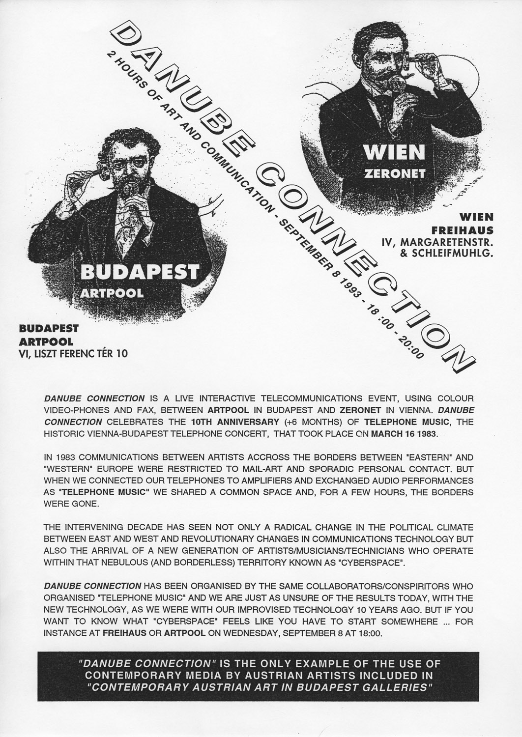 Press release by Zeronet for Danube Connection, 1993