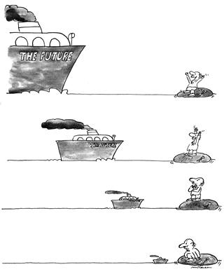Vaporul The Future (The Ship named The Future), caricature by Mihai Stănescu, 1985