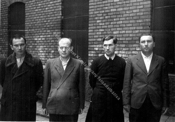 Leaders of the Actio Catholica in the court of the Jail of Markó Street. From left: Pál Németh, Antal Koleszár, Ödön Lénárd, 1948.