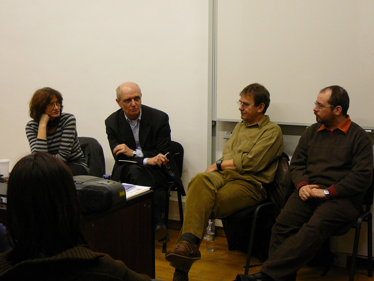 'Art and Subcultures in Late Socialist Hungary', presented by Julia Klaniczay and Péter György, March 11 2009. On the foto Julia Klaniczay, Péter György, Gábor Klaniczay, Balázs Trencsényi