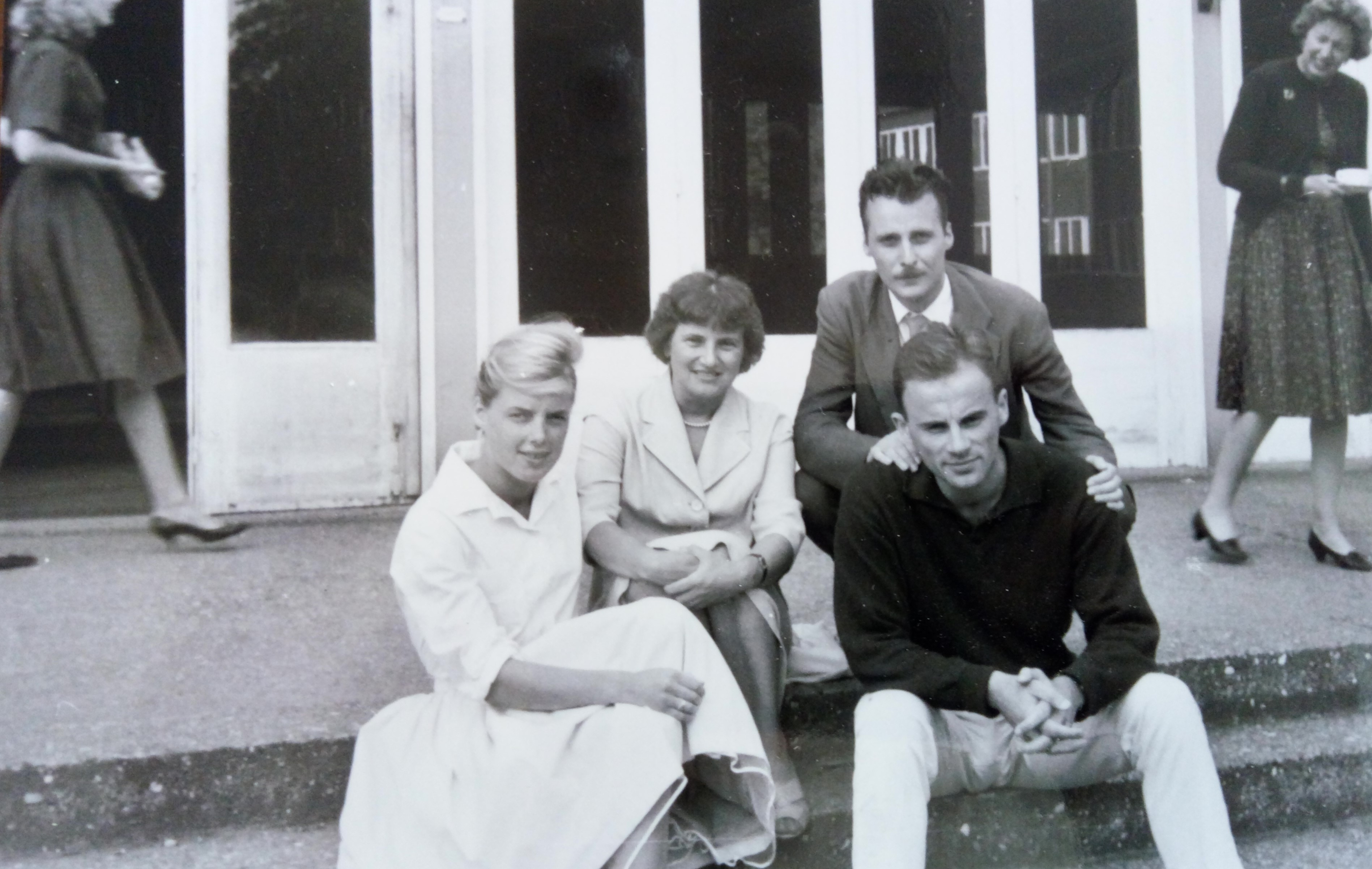 The Kušans (Zdenka and Jakša above) and Salajs (Barbara and Branko in front) at the summer seminar of the Free European University in Exile, 1959-1961, Jakša Kušan Personal Papers
