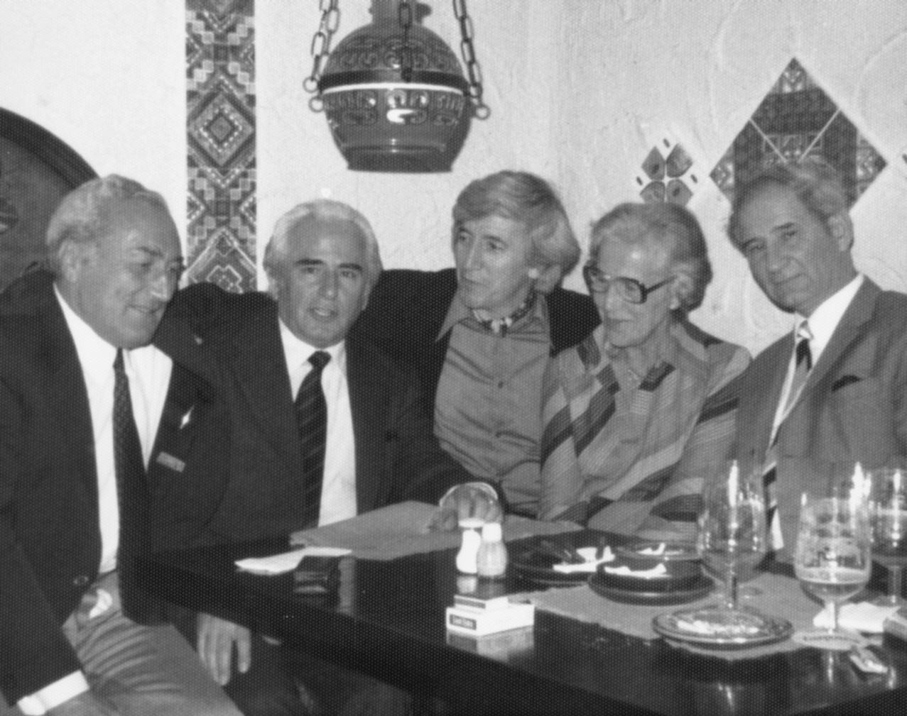 Hristo Damyanov Ognyanov with Bulgarian intellectuals in exil - Milcho Neboliev (editor at Radio 'Free Europe'), Ivan Voynov (lawyer), Asen Mandikov (Bulgarian writer and literary critic, editor at Radio 'Free Europe'), Georgi Markov (writer, journalist), Nadya Kozhuharova (literary critic and translator). Munich, [1977-1978].