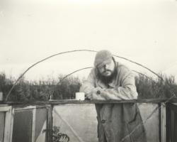 Hardijs Lediņš at the performance of the Workshop for the Restoration of Unfelt Feelings 'A Walk to Bolderāja' March, 1983.