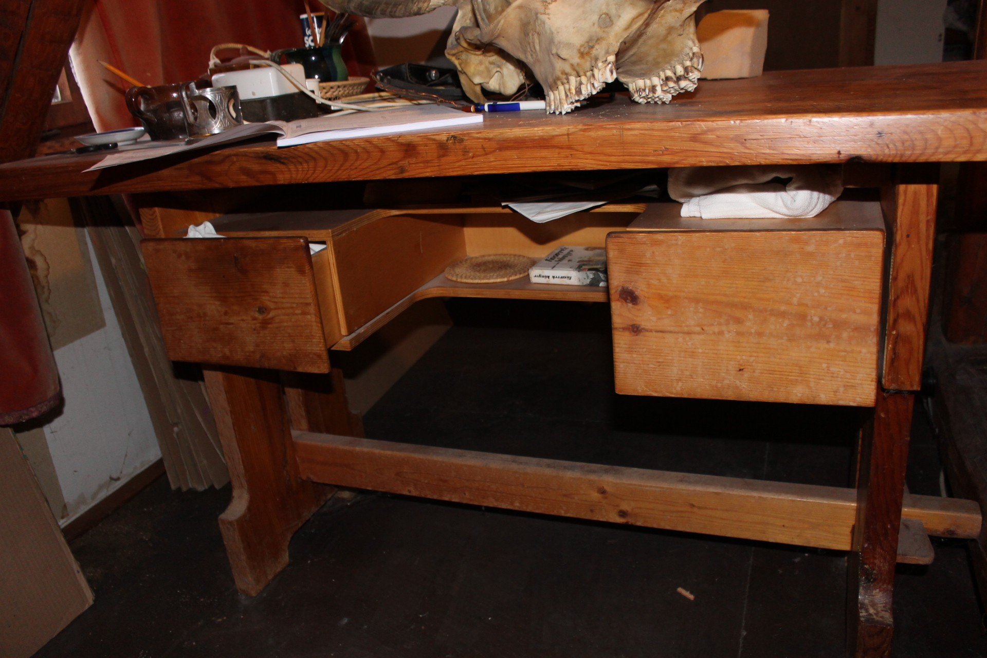 Desk which was made by Csaba Oszkay, one of  the Orfeo-members