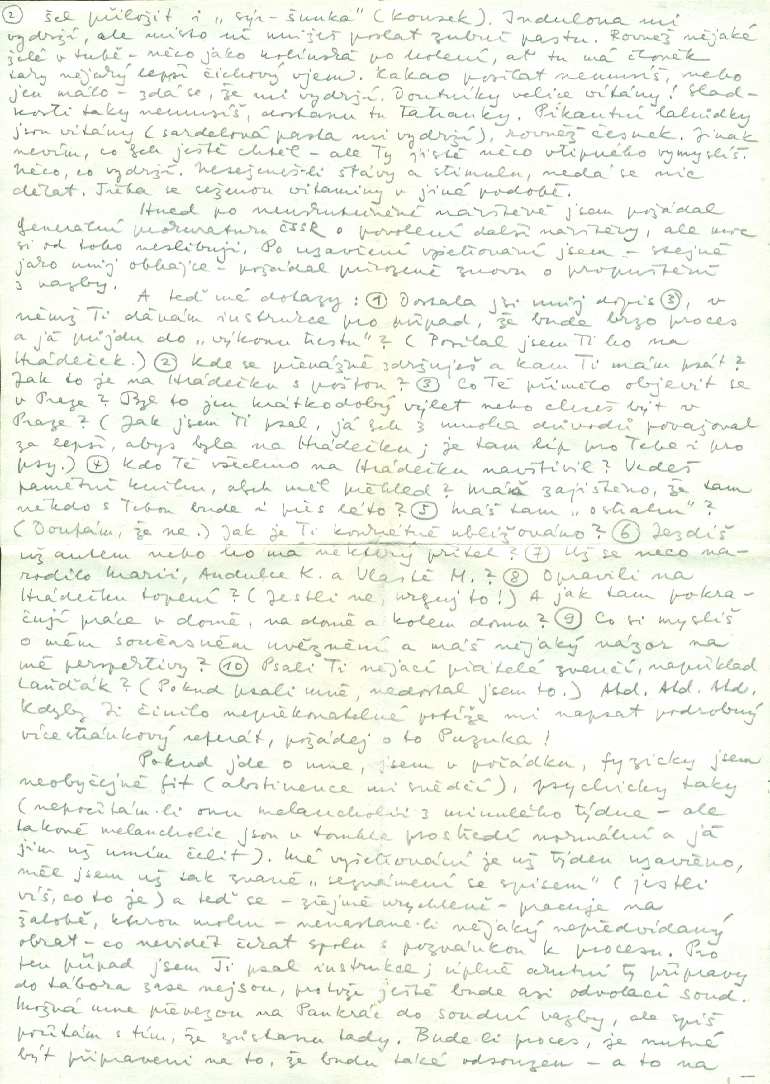 Václav Havel's letter to Olga Havlová, 8 July 1979