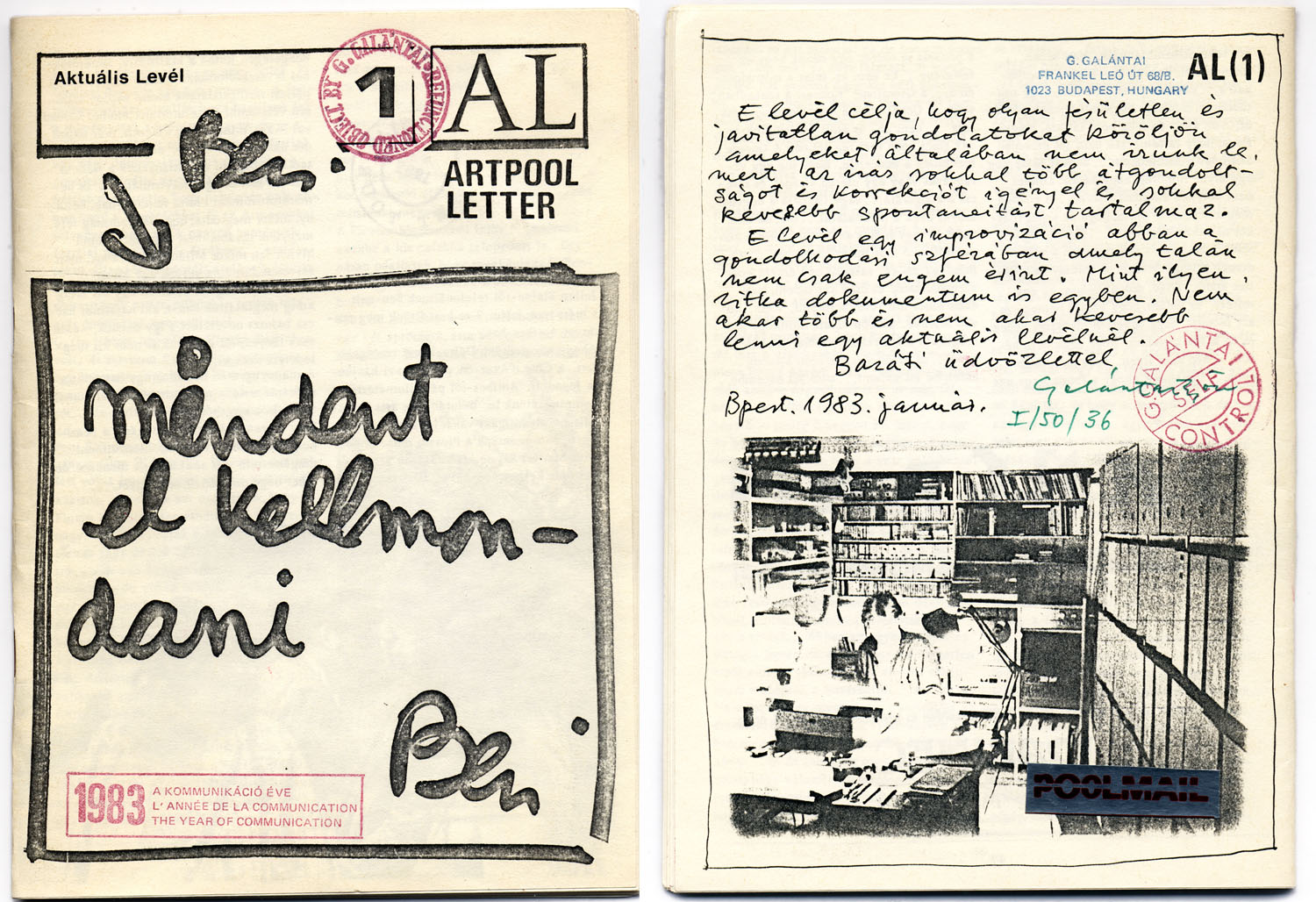 Cover (front and back) of AL 1, January 1983 (the first issue of the samizdat art magazine AL / Artpool Letter).