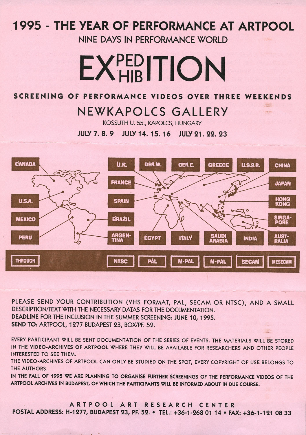 Call for participation in the screening of performance videos at NewKapolcs Gallery, Kapolcs, Summer 1995 (first and second page)