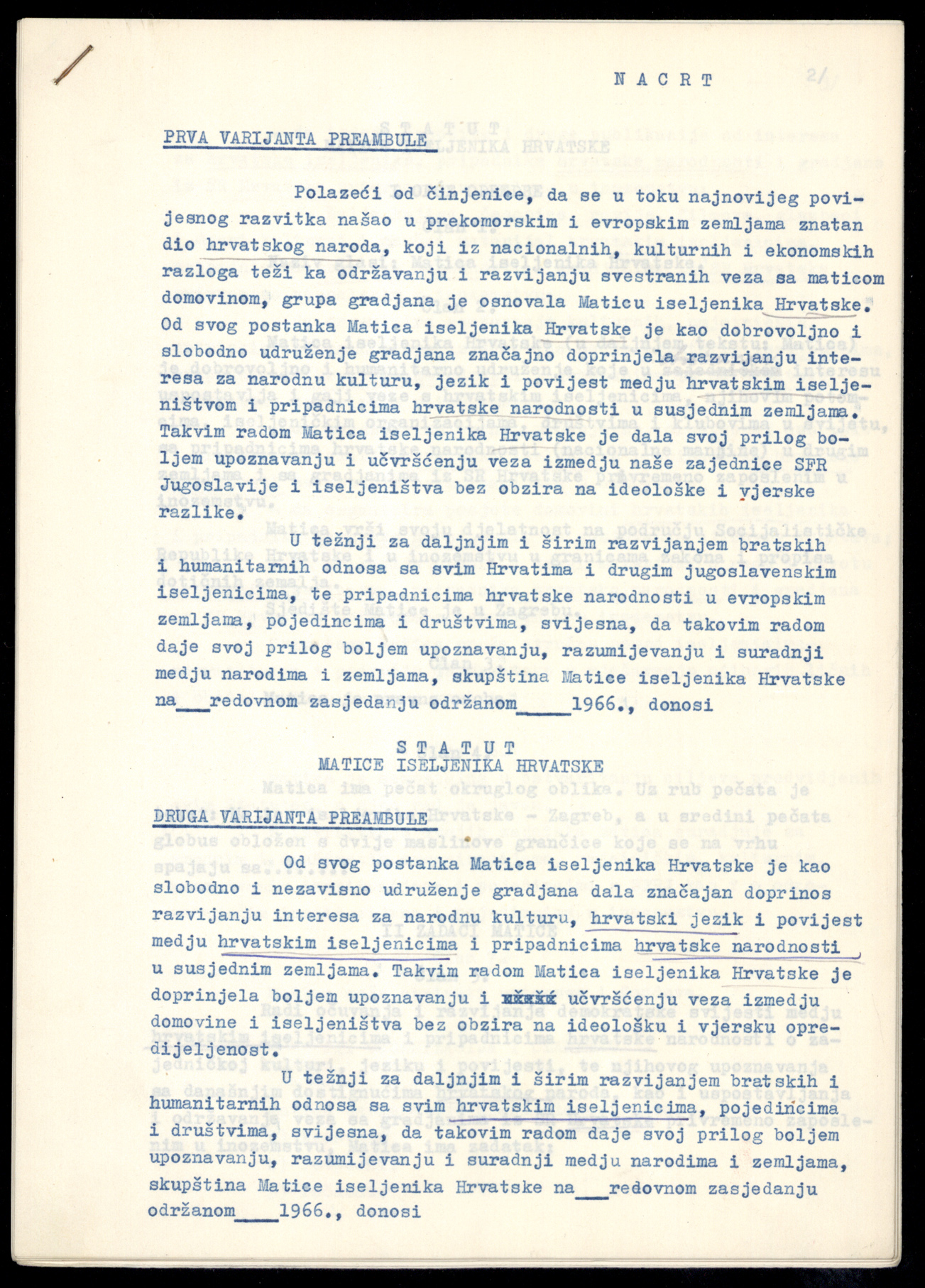 The Emigrant Foundation of Croatia Statute Draft, 1966
