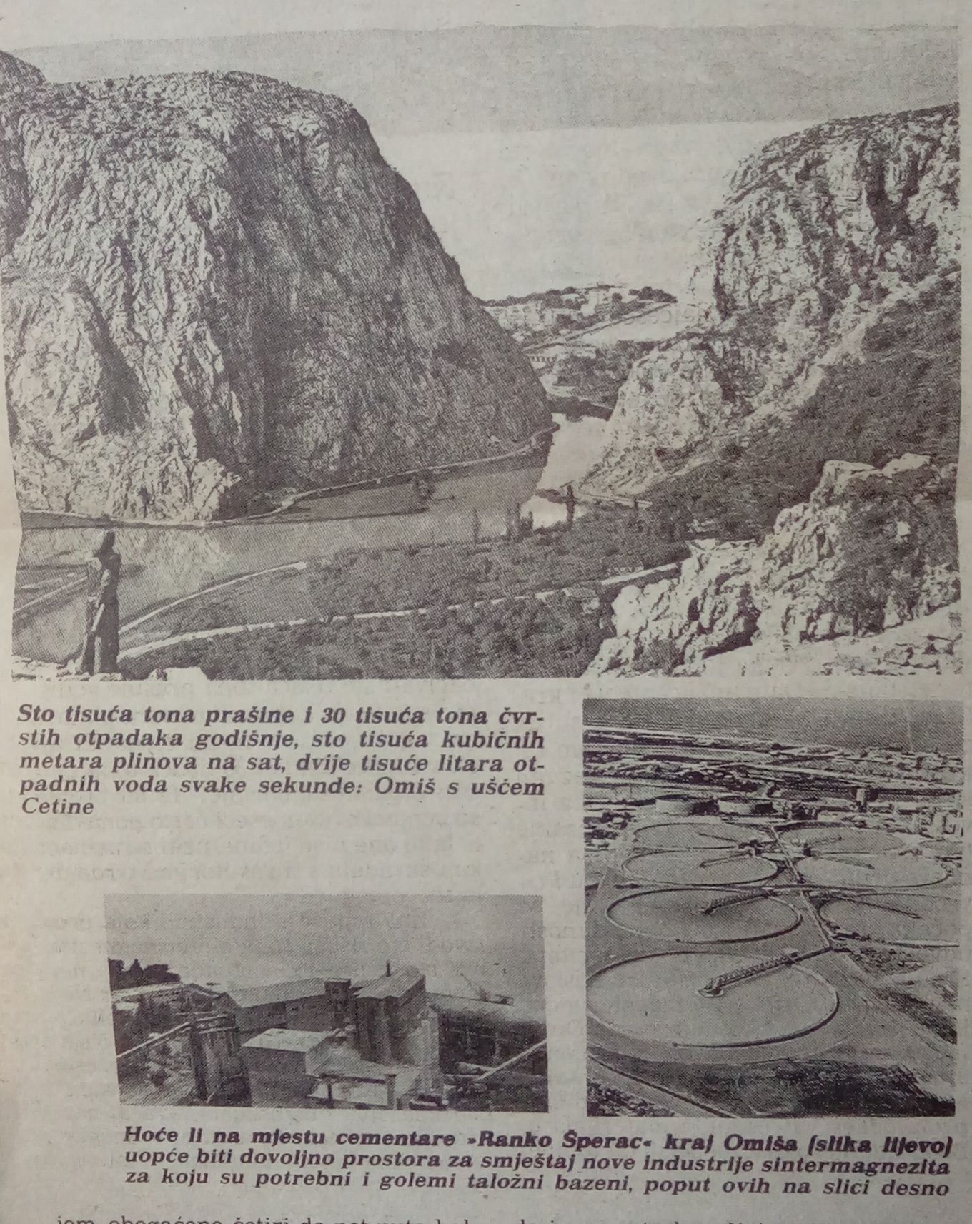 Illustration from a newspaper article on the planned construction of a sintered magnesia factory in Omiš, published in Vjesnik on 24 February 1979 (2018-05-23).