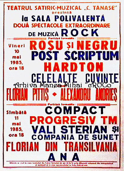 Concert poster, 10 May 1985