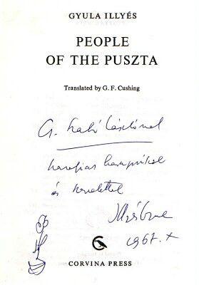 Gyula Illyés's dedication to László Cs. Szabó, 1967.