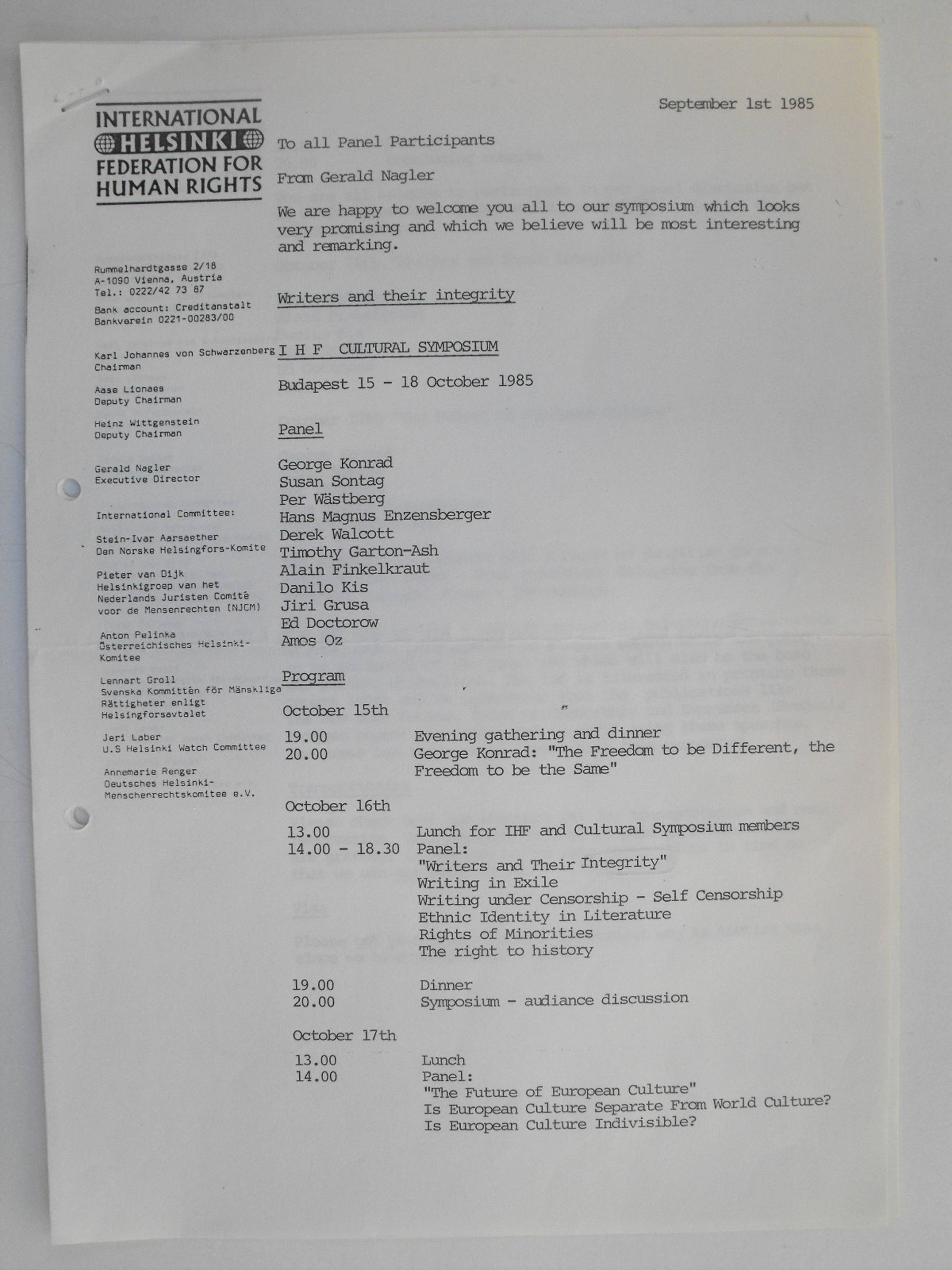 Invitation for the IHF Cultural Symposium, Budapest 15-18 October 1985