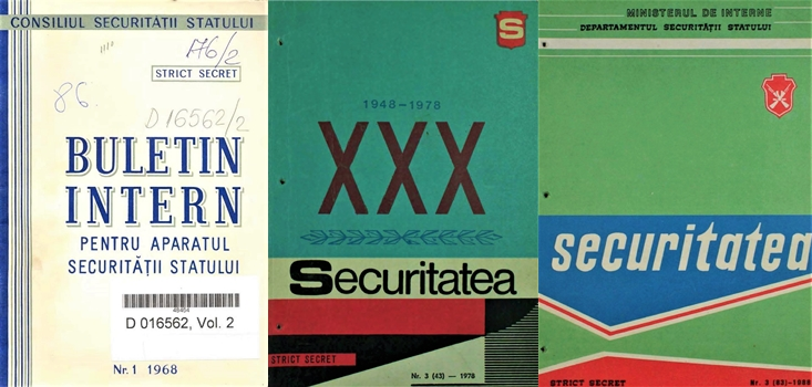 Cover pages of the Securitate quarterly in 1968, 1978 and 1988