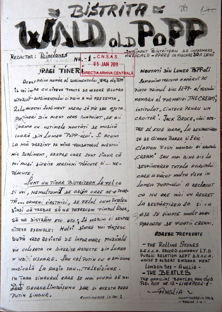 Fist page of the musical samizdat Wald old popp