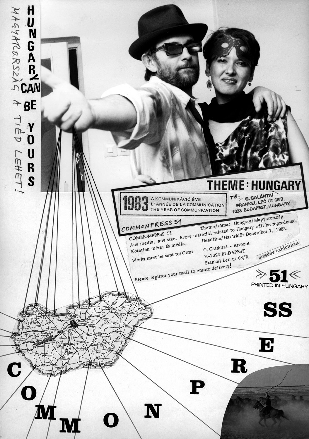 Invitation for Commonpress 51 'Hungary Can Be Yours', 1983. On the photo by István Jávor: György Galántai and Júlia Klaniczay