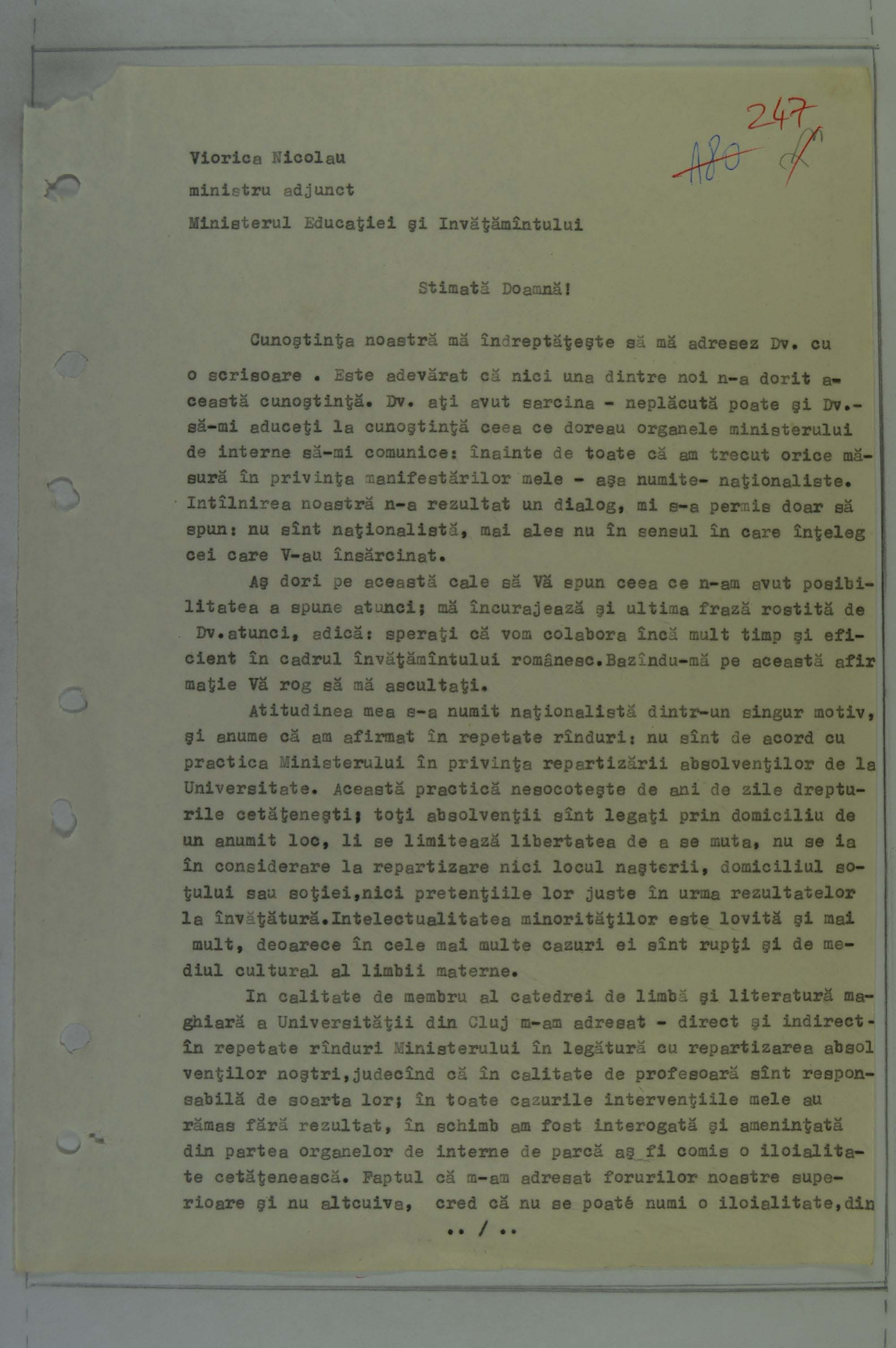 The transcript drafted by the Securitate of the Memorandum sent by Gyimesi to the Ministry of Education in 1988