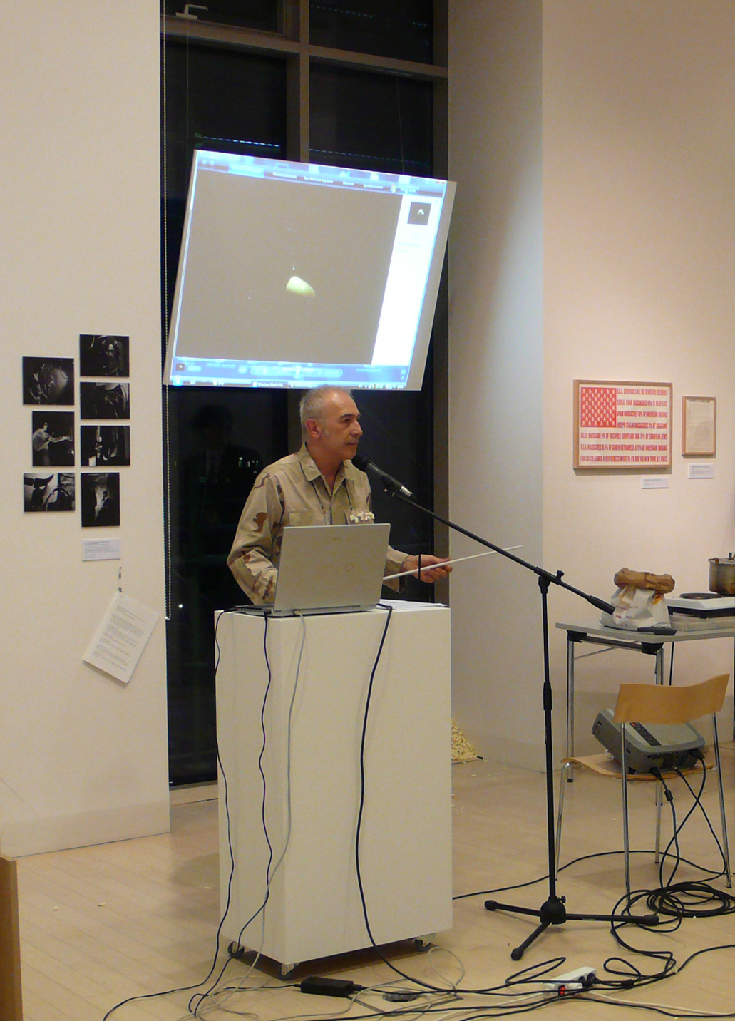 Lecture of Gábor Altorjay in the framework of the Fluxus East exhibition, Ludwig Museum, Budapest, 2008