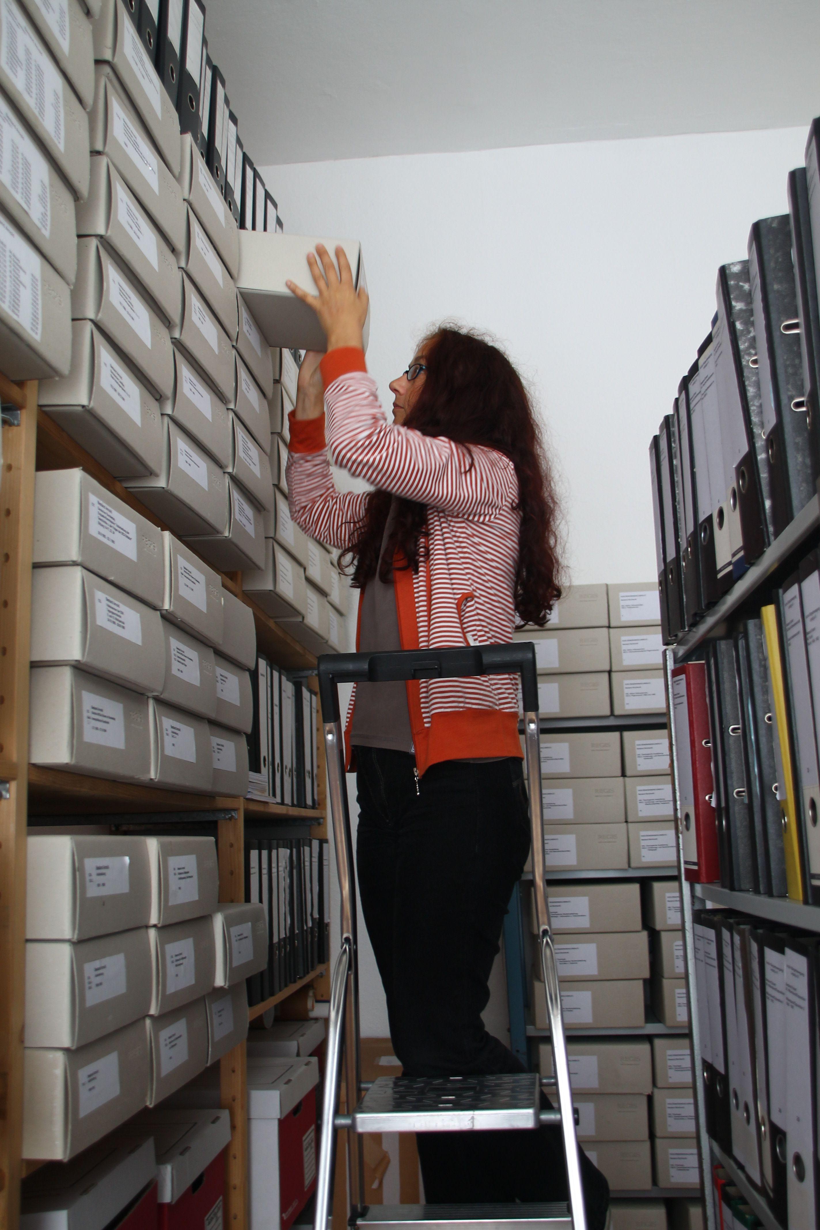 Saskia Paul in stack-room