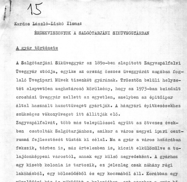 The firs page of the unpublished writing 'Vested Interests in the Factory of Fleet Glass at Salgótarján' (1979).