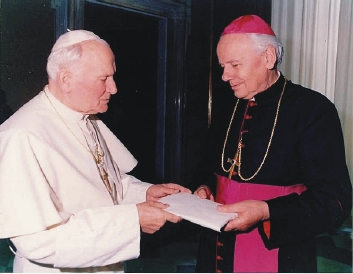 Alexandru Todea (Romanian Greek-Catholic bishop of the Făgăraş and Alba Iulia Diocese) and the Pope John Paul II in the early 1990s