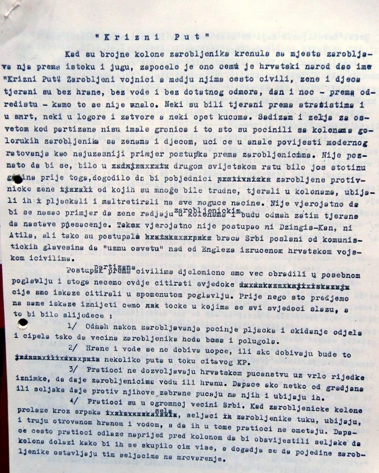 The first page of Draganović's chapter on Death marches ('Križni put').  (2017_10_01)