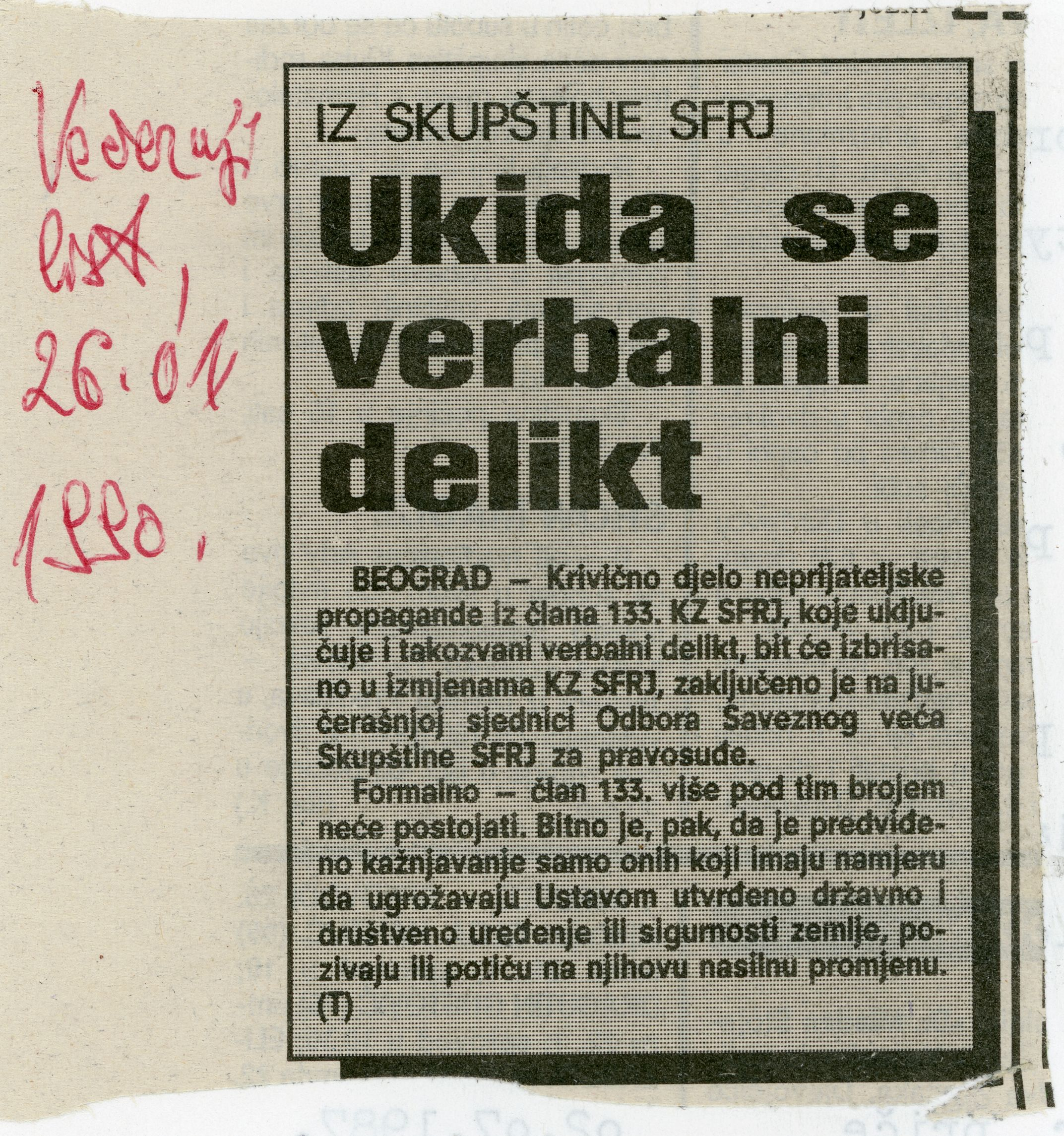 Press clipping 'The Verbal delict is being abolished', Večernji list, 26. April 1990