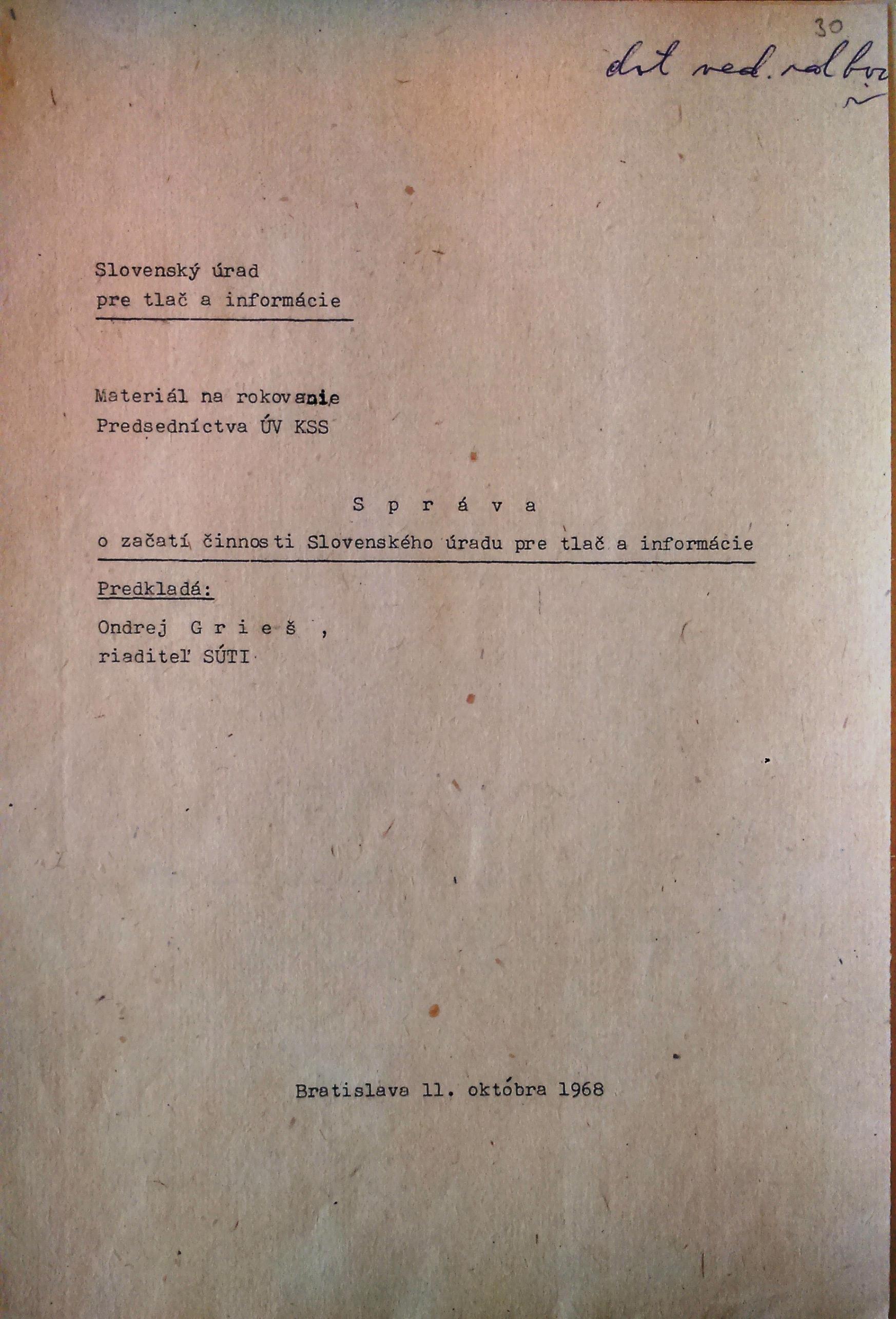 Úvodná strana správy o začiatku činnosti SÚTI v SSR.