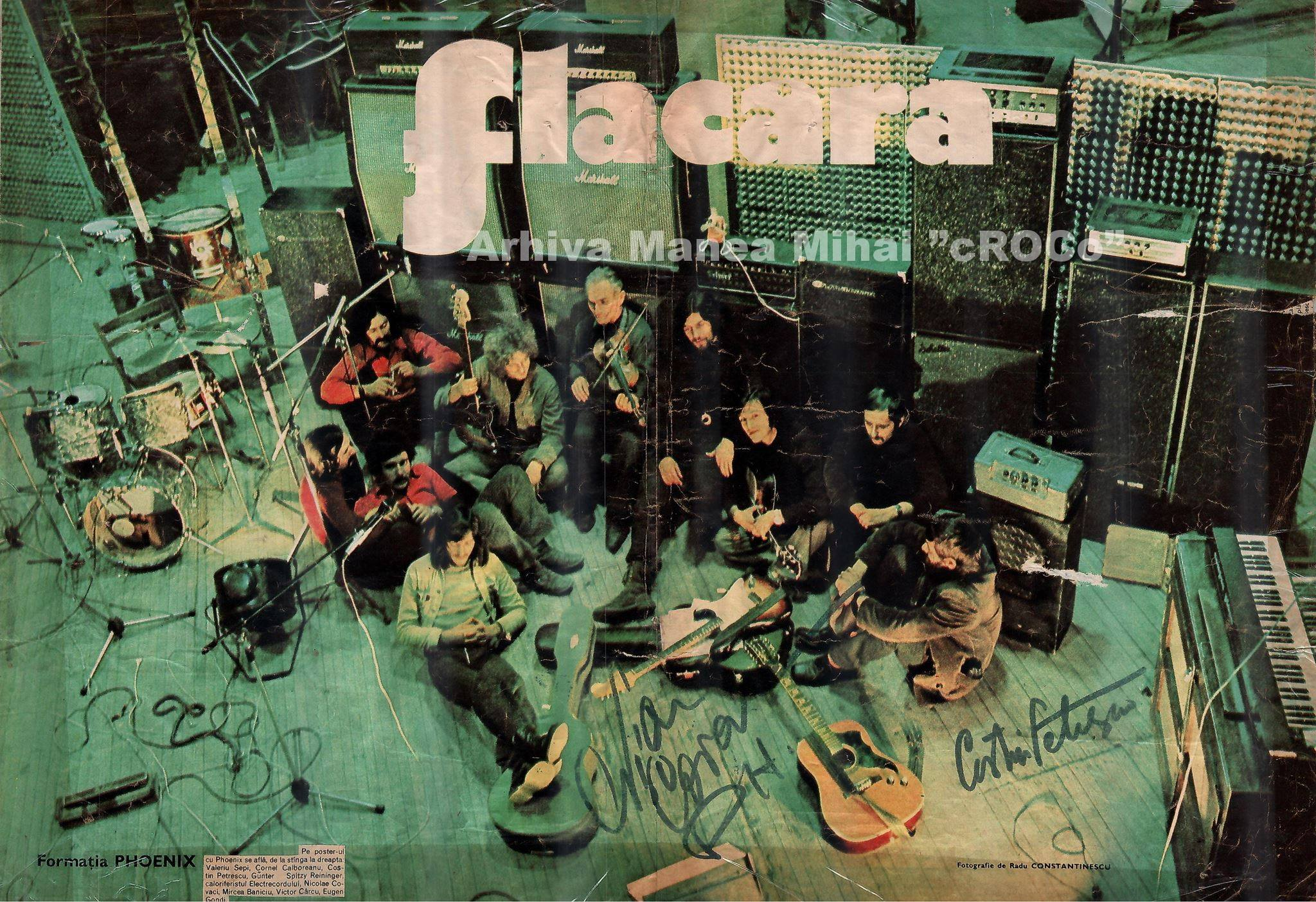 Poster with the Phoenix band in the Electrecord studio which included the autographs of its members