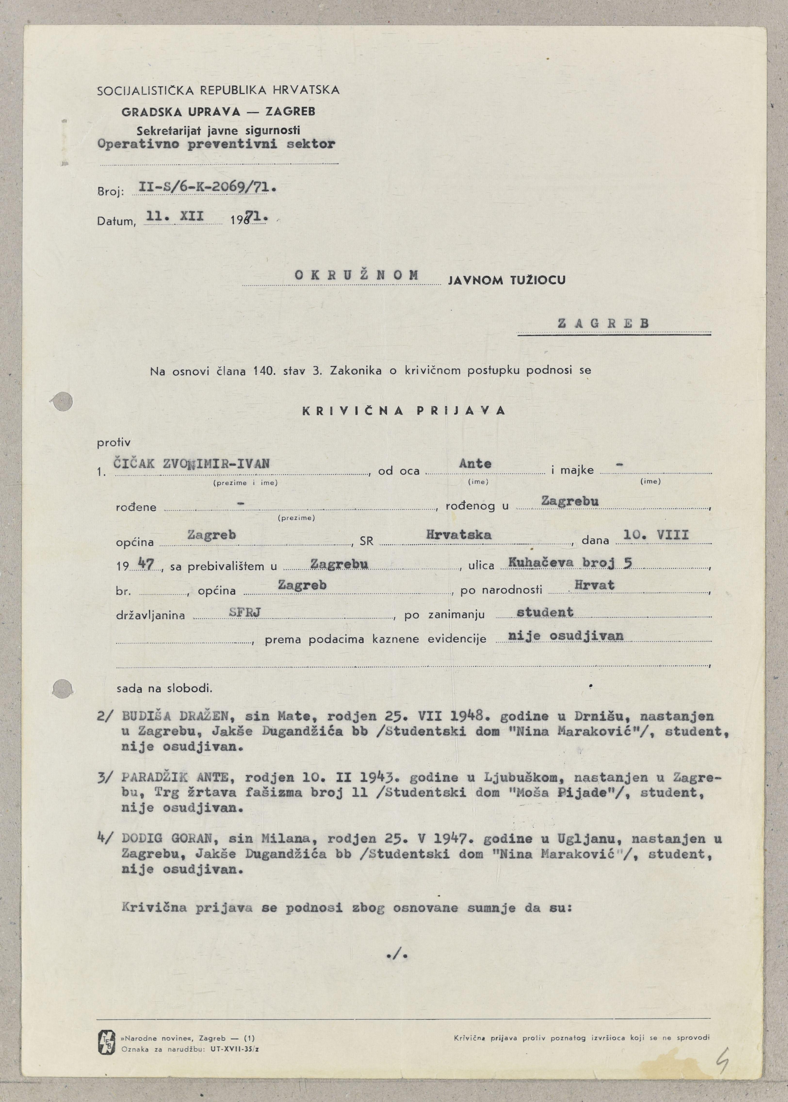 Preslika kaznene prijave protiv vođa studentskoga pokreta. 11. prosinca 1971. Arhivski dokument.