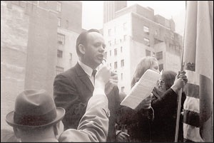 Osyp Zinkevych delivering a public speech in support of Ukrainian political prisoners, New York, 1973.