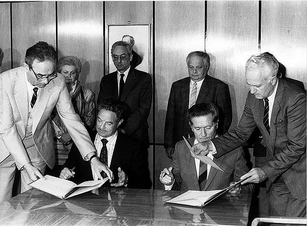 Signing ceremony of the founding agreement of Hungarian Soros Foundation at the Hungarian Academy of Sciences, May 1984 Budapest..