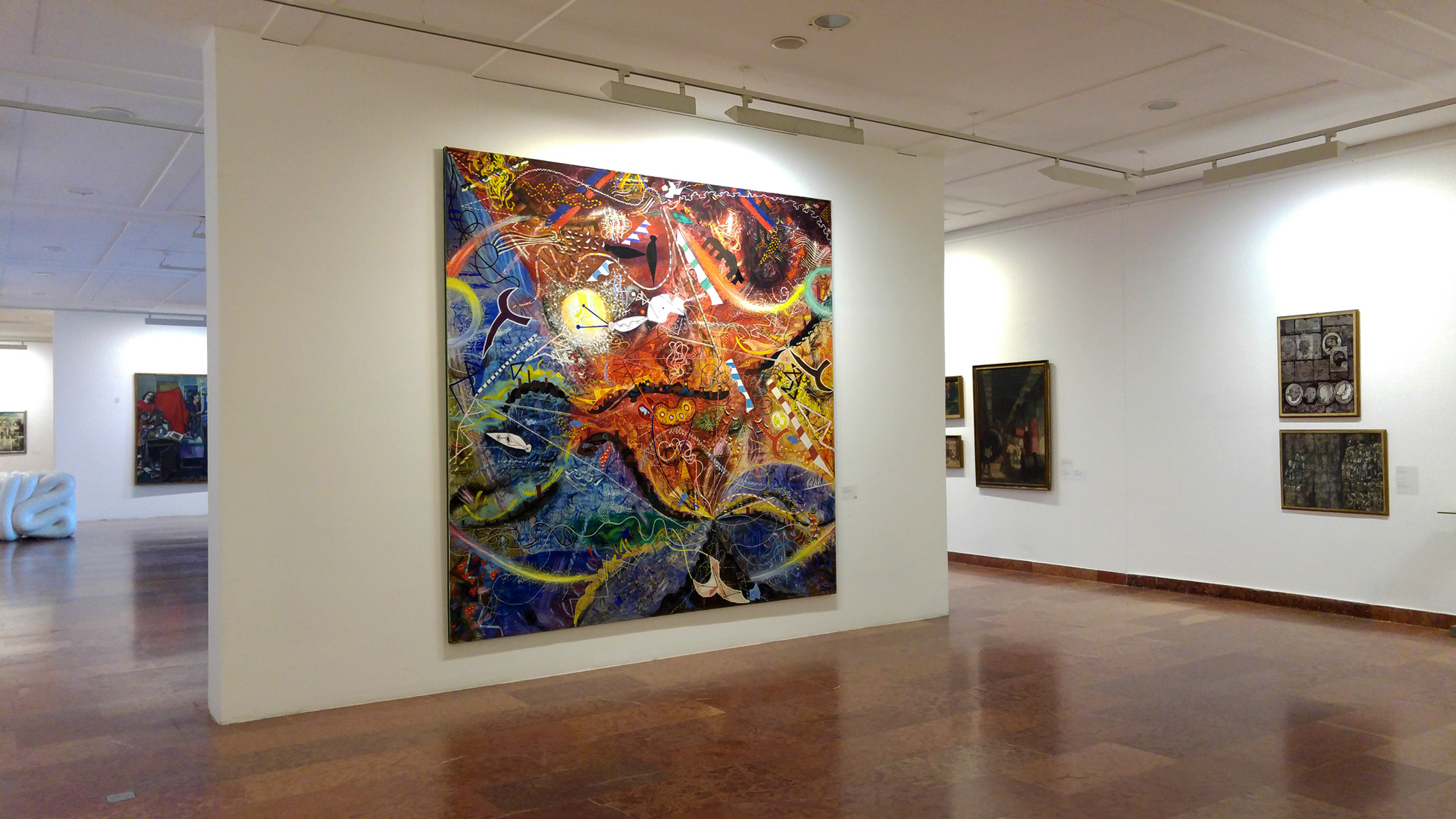 Installation view with the painting of Tamás Losonczy in the forefront (Great Purifying Storm, 1961)