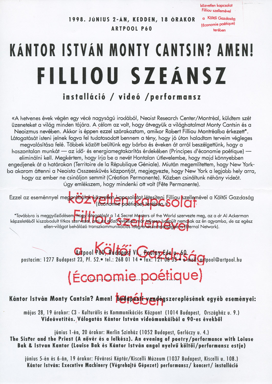 Invitation to István Kántor's performance, Artpool P60, Budapest, 2 June 1998