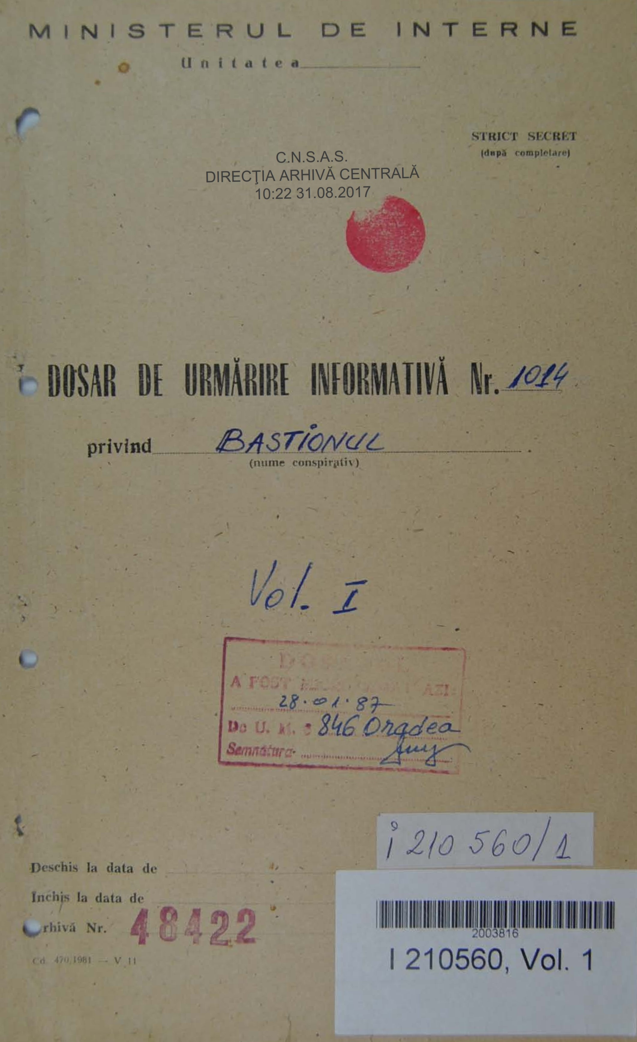 Front cover of the Antal Károly Tóth's informative surveillance file created by the Securitate
