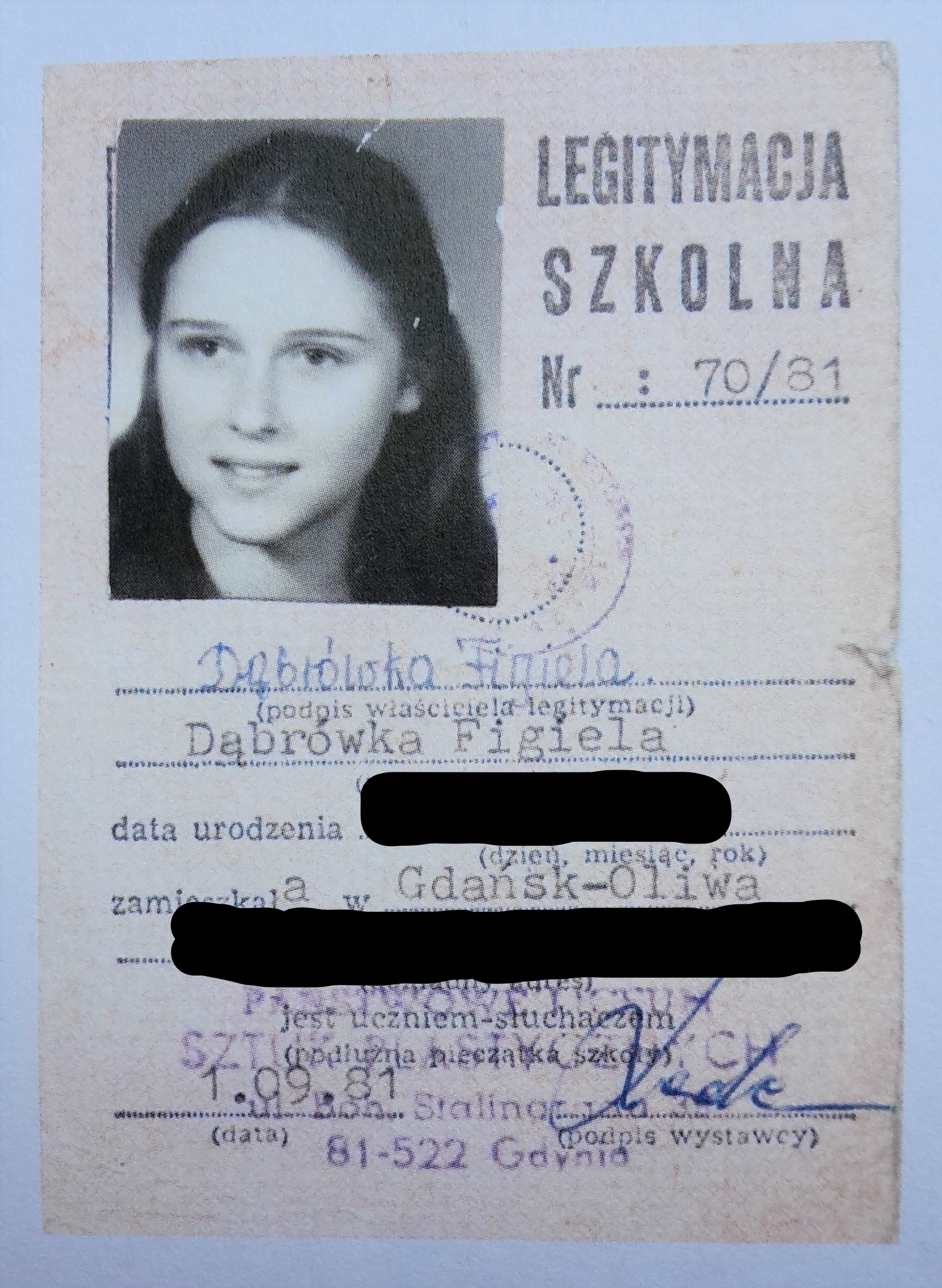 Dąbrówka Figiela-Miadziółko's student ID from the time she created the underground postage stamps during the Gdansk Strikes of August 1980.