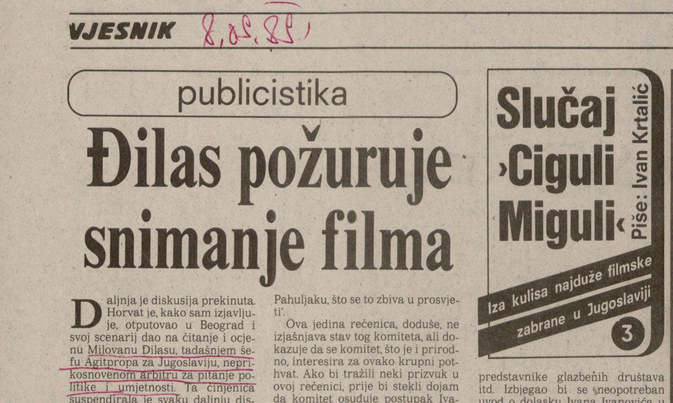 Novinski isječak feljtona Slučaj Ciguli Miguli.