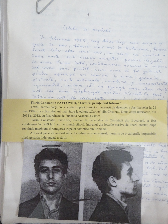 Manuscrisul lui Florin Constantin Pavlovici de la Muzeul Sighet