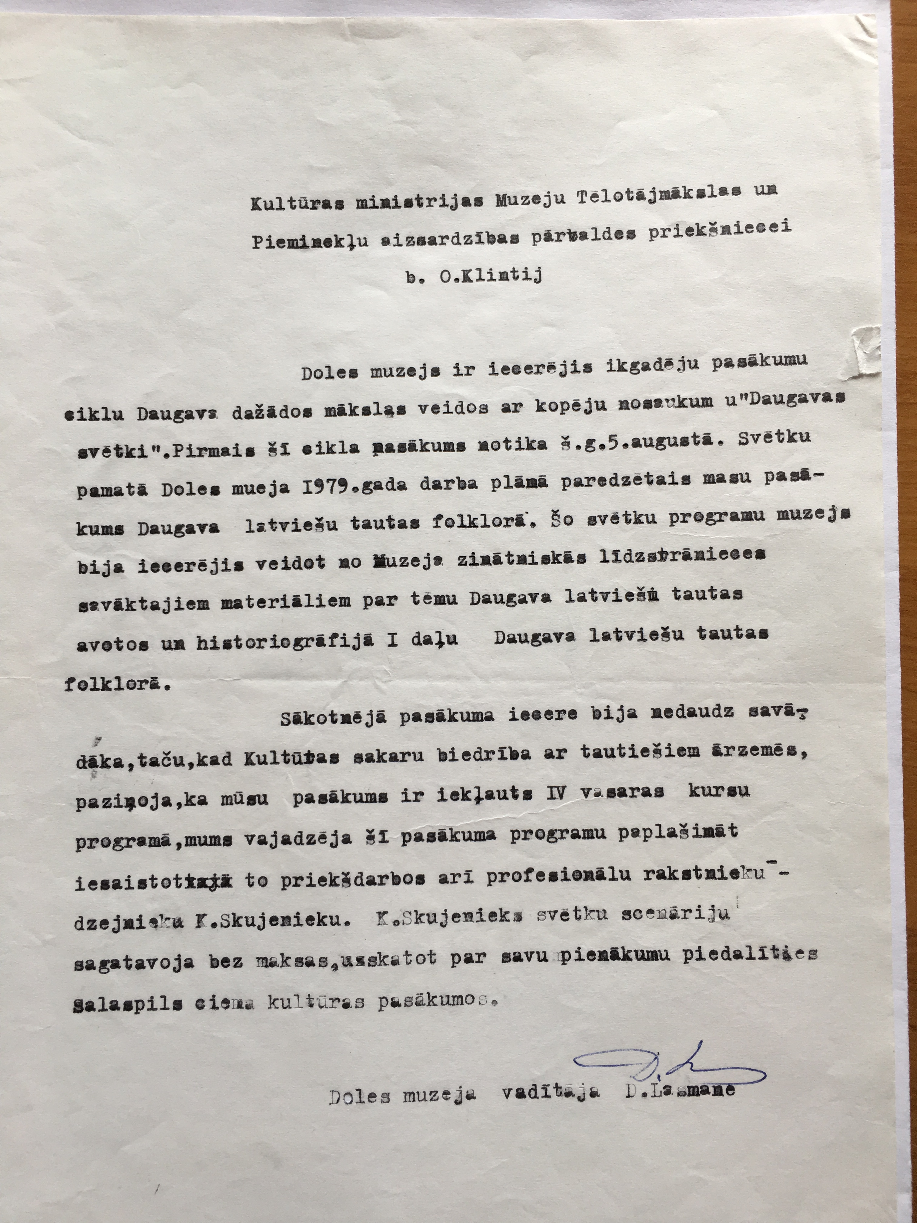 Explanation letter of director of the Dole History Museum Daina Lasmane to the official of the Latvian SSR Ministry of Culture about the First River Daugava Festivity in 1979