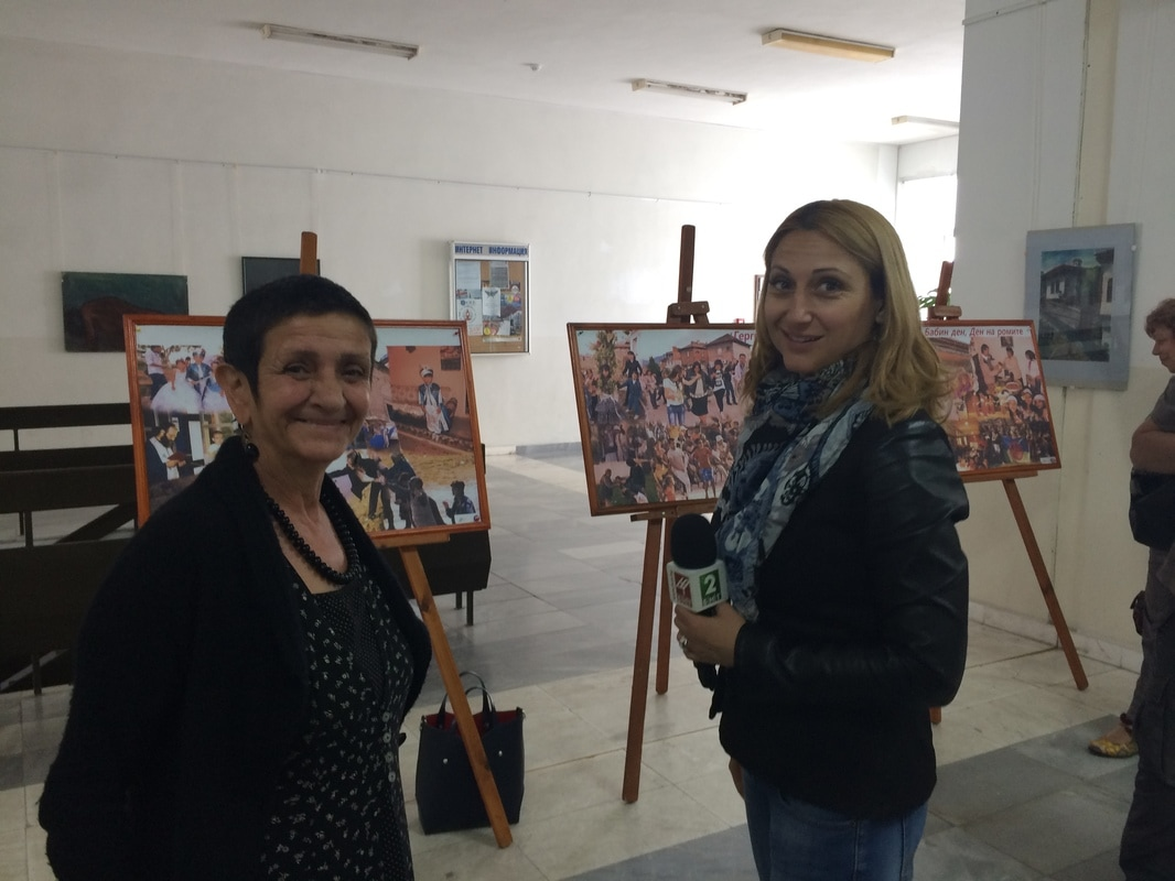 Assoc. Prof. Anastasia Pashova giving an interview for the Bulgarian National Radio - Radio Blagoevgrad at the exhibition 'Roma History and Culture', Neofit Rilski Southwest University, 22 May 2017.