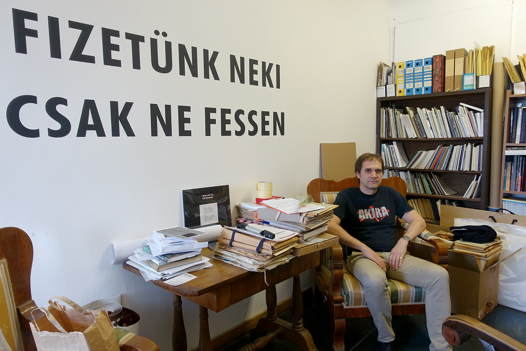 Zsolt Petrányi in his room at the Hungarian National Gallery