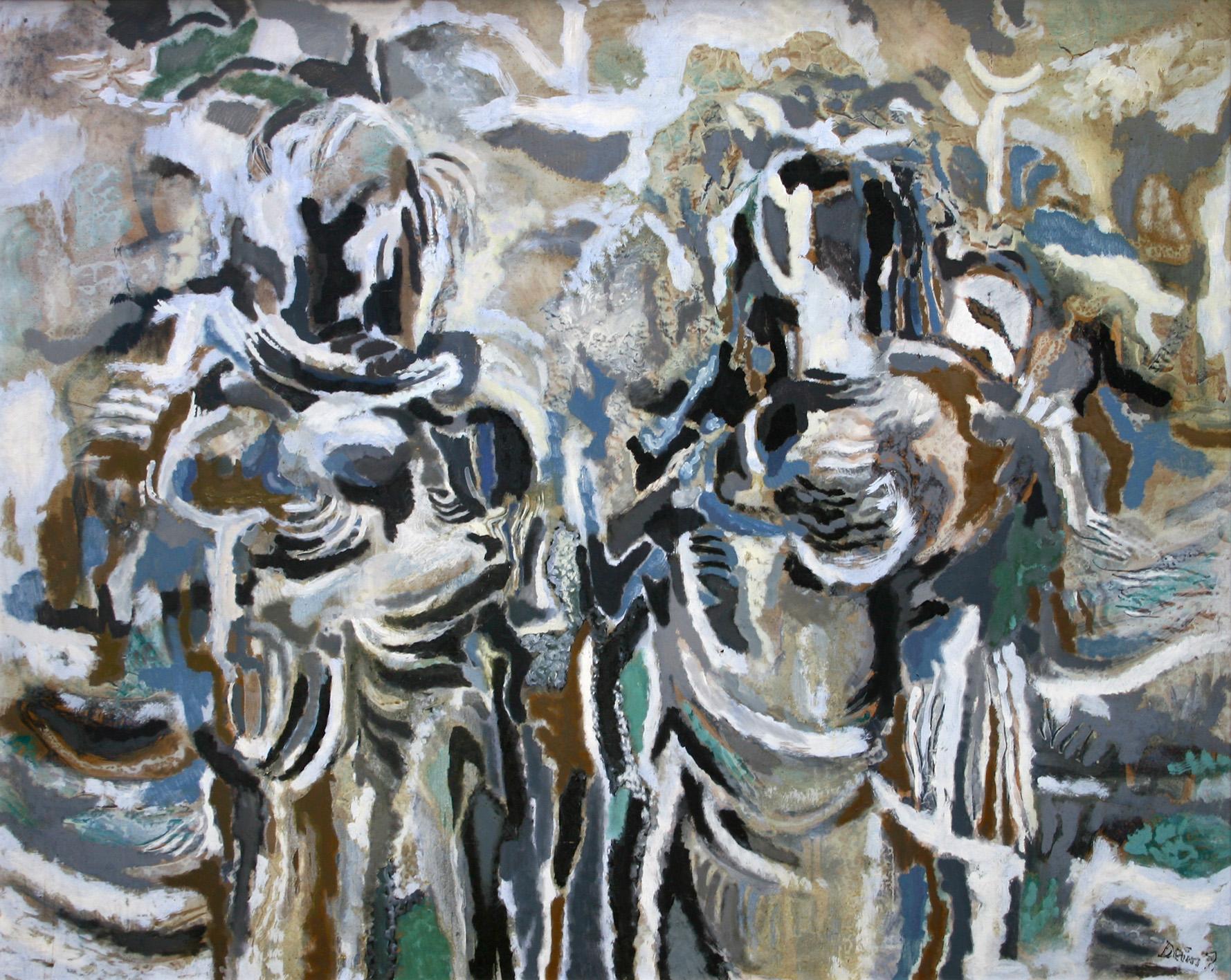 Pál Deim: Two Women, 1965, oil, fiberboard