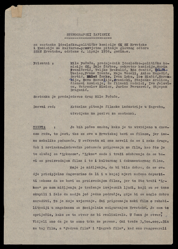 Stenographic Minutes from the Meeting of the Ideological Commission of CC LCC and the Commission on Cultural and Educational Issues of the Central Committee of the SAWPC, 4 June 1956