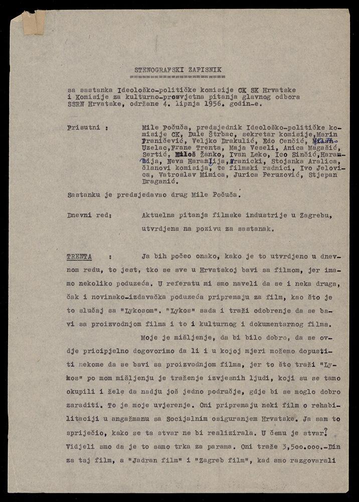 Stenografski zapisnik sa sastanka Ideološke komisije CK SKH i Komisije za kulturno-prosvjetna pitanja GO SSRNH, 4. lipnja 1956.