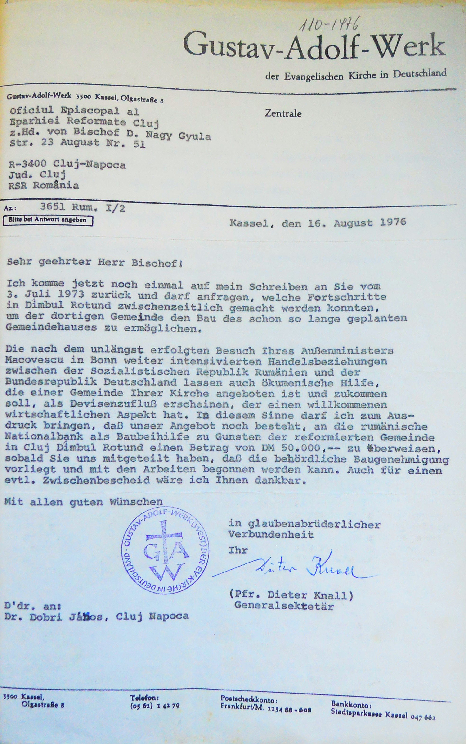 Letter concerning the Gustav Adolf Werk's donation from Federal Republic of Germany (1976)