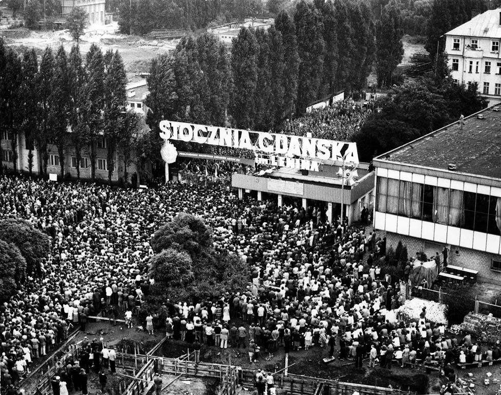 People giving their support to the striking shipyard workers in Gdansk in August 1980.