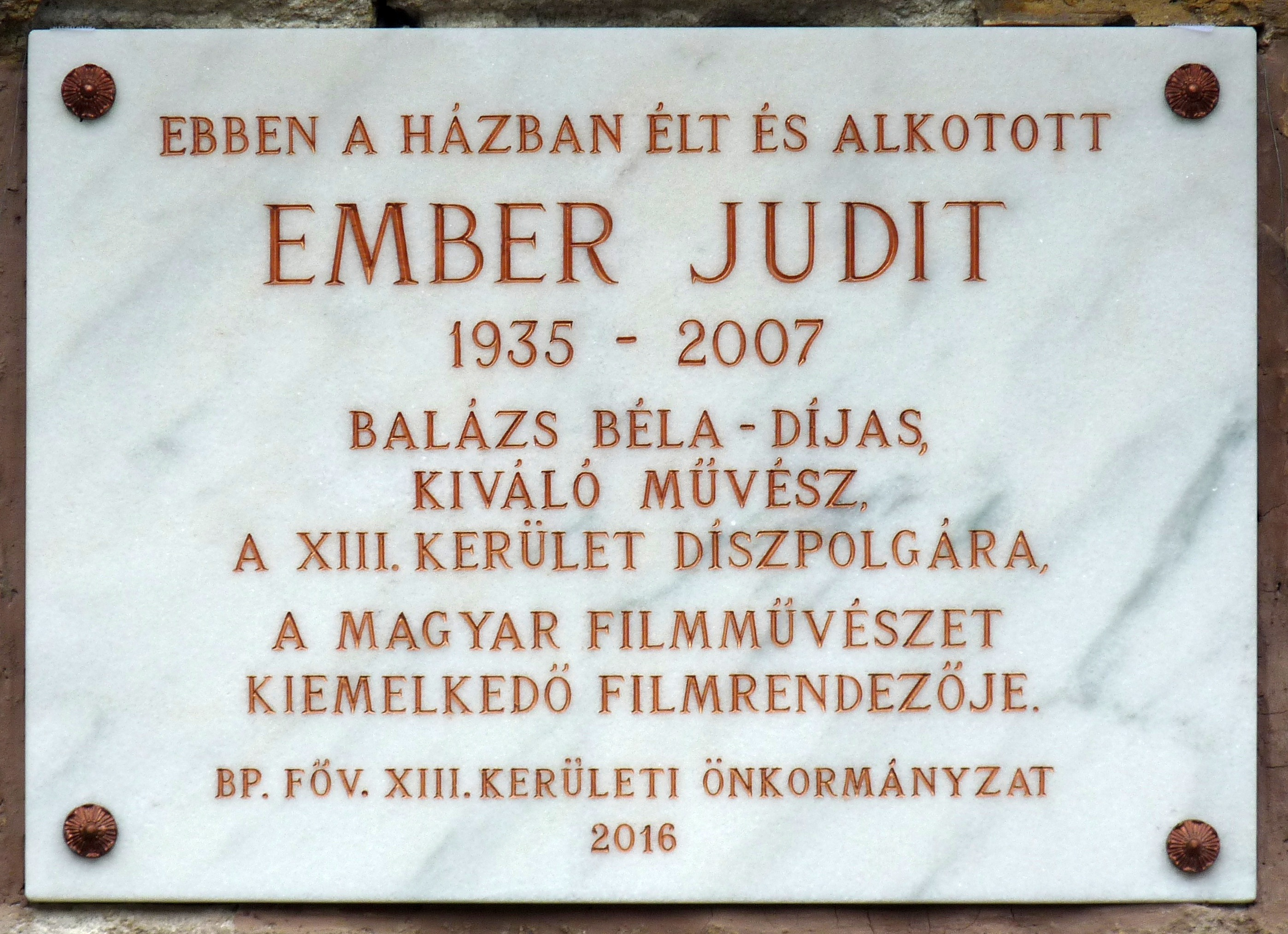 Memorial tablet for Judit Ember.