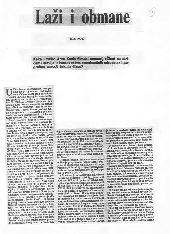 Javna reakcija režisera Krste Papića na vijest o osporavanju scenarija filma Život sa stricem. (Vjesnik, 1. prosinca 1986.)