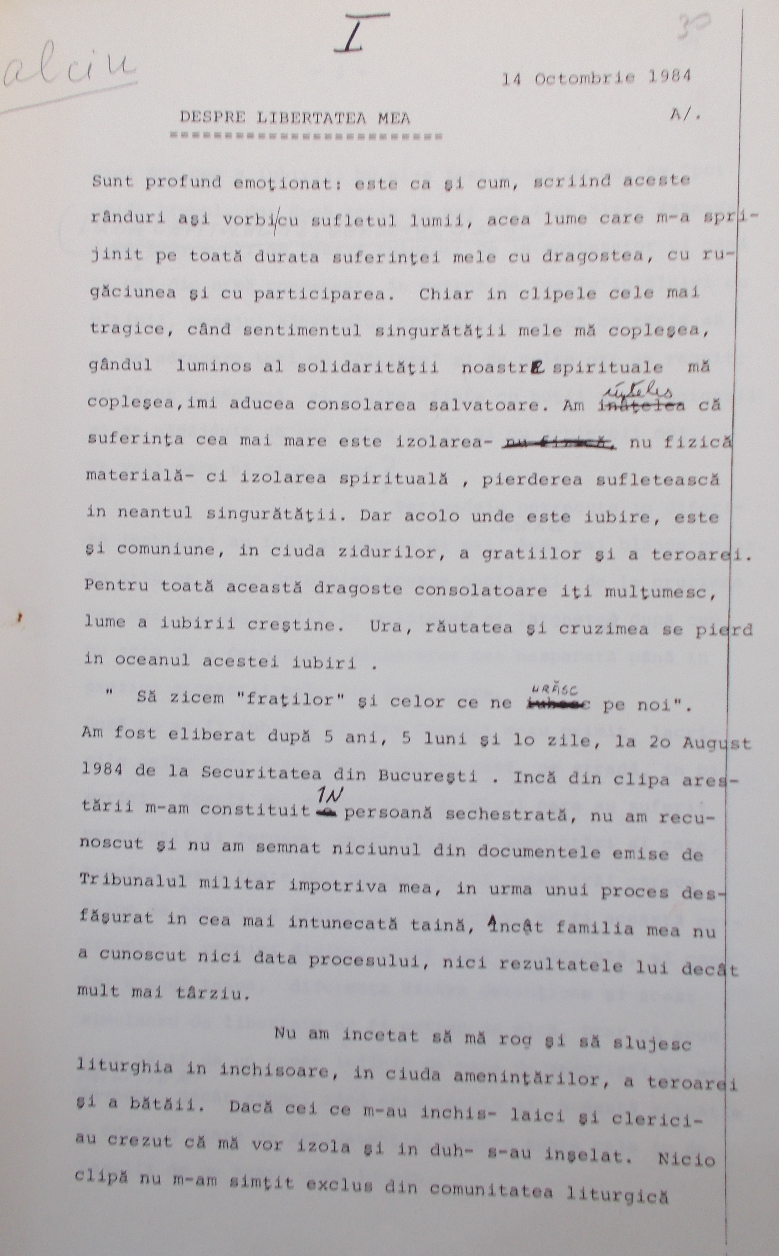 The first page of the letter to RFE sent by Calciu–Dumitreasa in October 1984