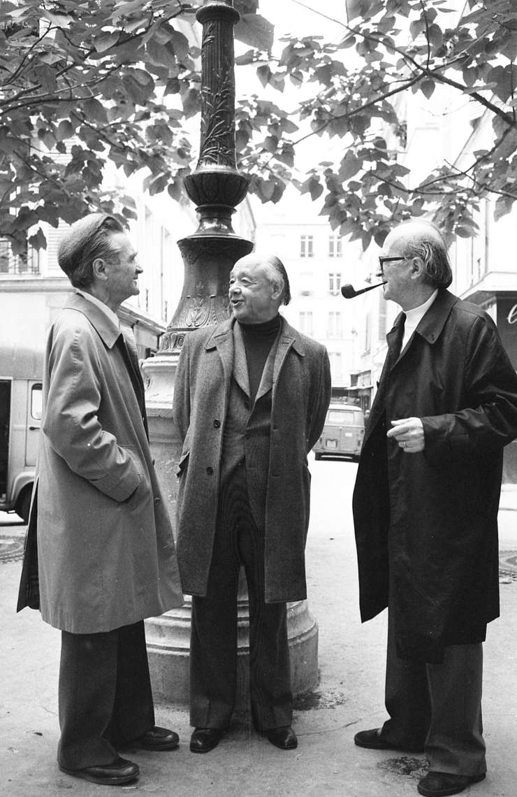Emil Cioran, Eugène Ionesco and Mircea Eliade meeting in Paris in October 1977 photographed by Louis Monier